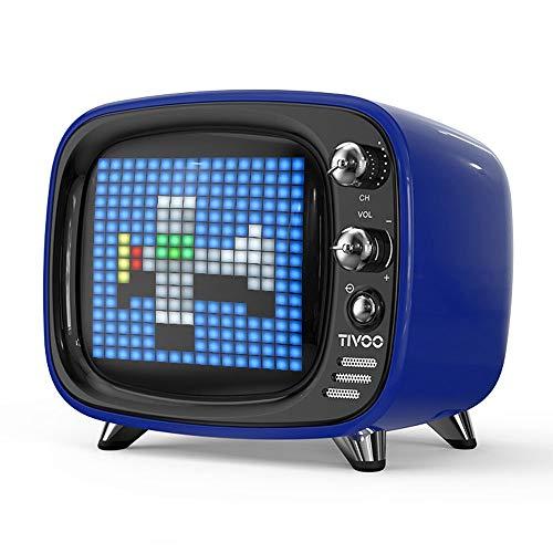 ZTKBG draagbare bluetooth-luidspreker, intelligente wekker pixel-kunst, doe-het-zelf, led-licht aanmelden decoratie, blauw