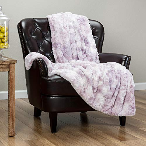 Chanasya Fuzzy Faux Fur Throw Blanket - Light Weight Blanket for Bed Couch and Living Room Suitable for Fall Winter and Spring (50x65 Inches) Lilac Purple