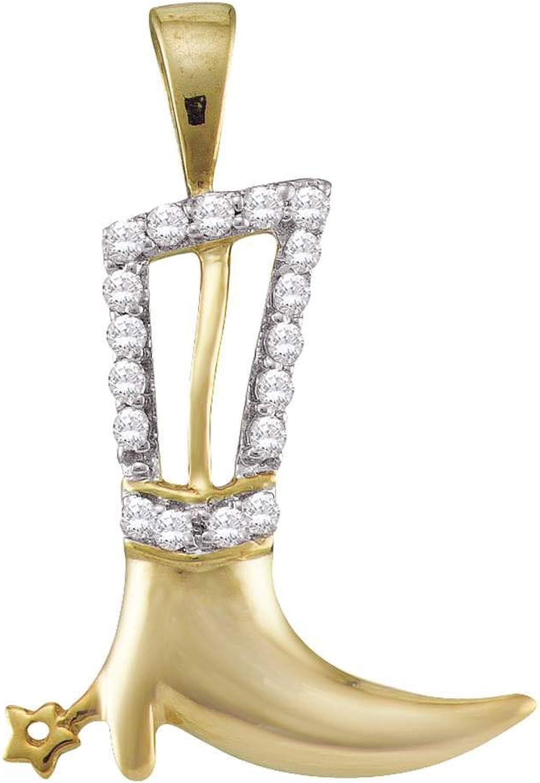 10kt Yellow gold Womens Round Diamond Cowboy Boot Spurs Pendant 1 10 Cttw