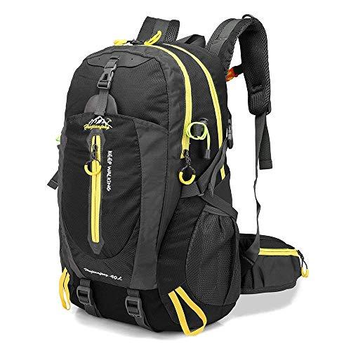 Lixada 40L Resistente al Agua Mochila, Portátil Mochila Trekking, Laptop Daypack, Durable Impermeable, para Escalada, Viajes, Actividades al Aire Libre (Negro)