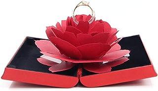صندوق حامل خاتم خطوبة وزواج بتصميم ثلاثي الابعاد بداخله وردة منبثقة، هدية مجوهرات غير شائعة (لون احمر)