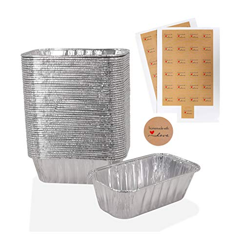 Mwnxia Aluminum Mini Loaf Pans - Pack of 50 - Disposable Foil Loaf Baking Pans Complete with 50 'Homemade with Love' Stickers - 1Lb - 6'' X 3.5' x 2' Perfect for Baking Bread Meatloaf Cakes Lasagna