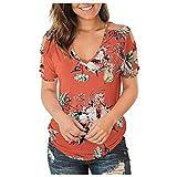 WOBANG Camiseta para mujer y adolescente, con estampado de sol y luna, para verano, divertida, deportiva, cuello redondo, manga corta naranja S