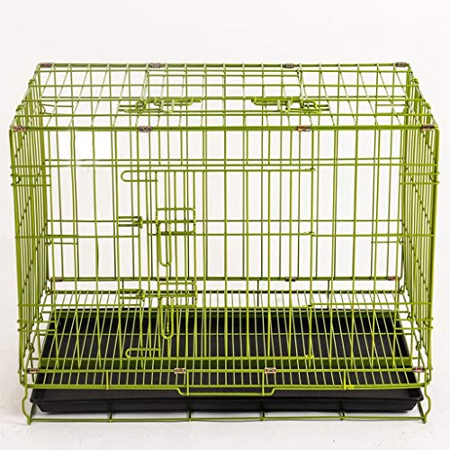 Xiaokeai Dog Crate Green Dog Crate Dog Cage Dog Kennel Metal Wire Folding Pet Animal Pet Cage With Plastic Tray And Handle Pets Dog Crate (Size : S)