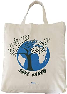 Arka Home Products Shopping Bag - Save Earth Print - 100% Cotton, Reusable, Printed Canvas Bag