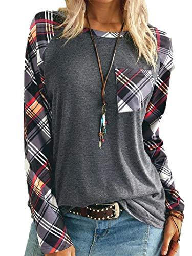 SLYZ Señoras Primavera Nuevo Suéter Costura De Impresión Tops A Cuadros Tops De Camiseta De Mujer