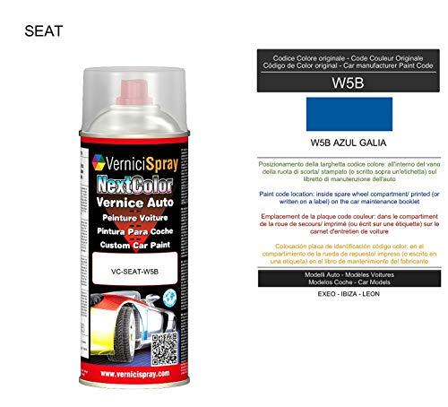 Spray Autolack SEAT W5B AZUL GALIA - Autolack in Originalfarbe des Herstellers, 400 ml