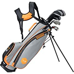 11-piece set includes a driver, fairway wood, hybrid, 7 iron, pitching wedge, sand wedge, putter, three head covers, and stand bag 350cc alloy driver with a graphite shaft and sight line marker (includes head cover) 20A fairway wood with graphite sha...