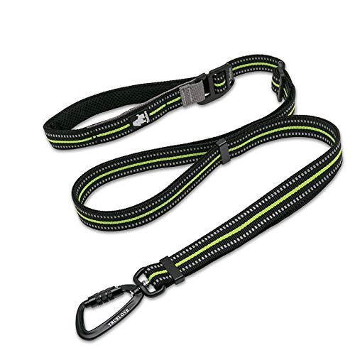 cocomall犬犬用リード1本で色々使える多機能リード調節できるリード伸縮リード小型、中型、大型犬用リード訓練リードロングリードペット用品ハーネス3M反射材料ナイロン製通気性調節可能メッシュペット(ネオン・イエロー)