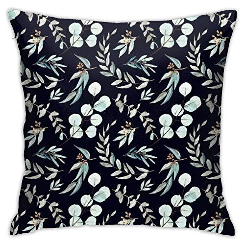 87569dwdsdwd Eucalyptus Editi Silver Dollar Eucalyptus with Black Background Square Pillow Case Home Sofa Decorative 18' X 18'Inch Ultra Soft Comfortable