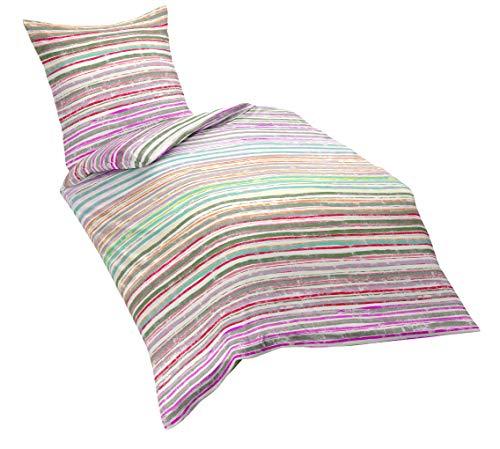 fleuresse Riva, Feingewebe-Bettwäsche, sommerlich bunte Streifen, pink/lila-töne  135 x 200 cm