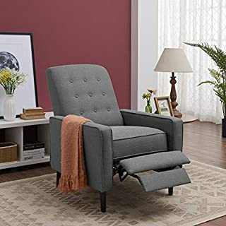 Domesis Hastings Mid-Century Modern Push Back Recliner in Charcoal Gray Linen