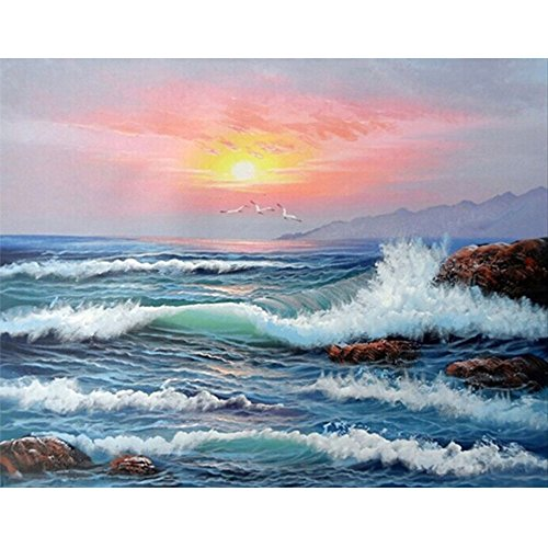 Mobicus 5D DIY Full Diamond Painting by Number Kits,sea(16X12inch/40X30CM)