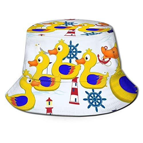 Barco Lighthouse Ocean Duck Bucket Sombrero para el Sol para Hombres y Mujeres -Protección UV Sombrero de Verano para acamparFlexible Durable