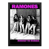 ハンギングペインティング - RAMONES ラモーンズ (結成45周年記念) - Rocket To Russiaのポスター 黒フォトフレーム、ファッション絵画、壁飾り、家族壁画装飾 サイズ:33x24cm(額縁を送る)
