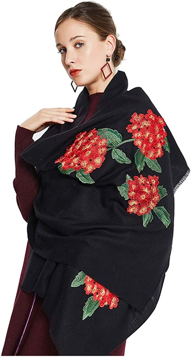 Scarves Scarf Long Autumn and Winter Scarf Wool Scarves Dual Shawl Ladies Embroidery Scarf Thick Warm Scarf Cold Weather Scarves (color   Black, Size   190  65  0.3cm)