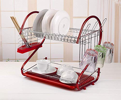2 Tier Dish Rack with Utensil Holder, Cutting Board Holder and Dish Drainer for Home Kitchen (Red)