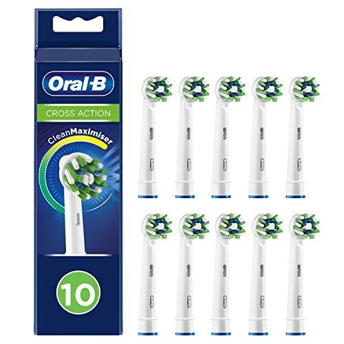 Braun Oral-B 4210201321439 CrossAction - Testine di ricambio con setole Cleanmaxmiser per pulizia orale, 10 pezzi