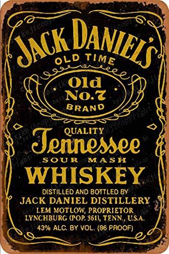 Jack Daniels Whiskey poster Carteles de chapa vintage Cartel de chapa Retro Letrero de metal Placa Arte Decoración de pared 8 × 12 Pulgadas