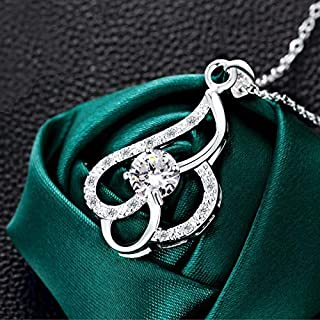 Korean Version of The Popular Jewelry into The Green Plated Silver Jewelry Micro-Inlaid Zircon Necklace (Color : White) Girls Necklace (Color : White)