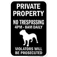 PRIVATE PROPERTY ブラックマグネットサイン:ピットブル シルエット 英語 私有地 無断立入禁止