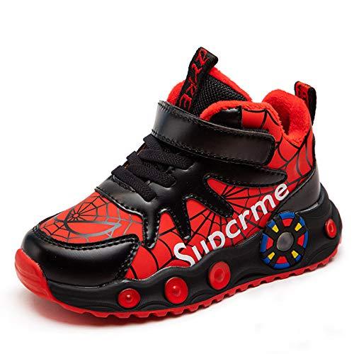MIAOXI Scarpe da Ginnastica Alte per Bambini Spiderman Aggiungi Scarpe da Ginnastica in Cotone Ragazzi Scarpe da Corsa Sportive Comode E Traspiranti,Red-31EU