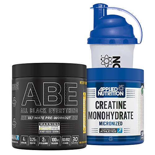 Applied Nutrition Bundle ABE Pre Workout 315g + Creatine Monohydrate 250g + 700ml Protein Shaker | All Black Everything Preworkout with Citrulline, Creatine, Beta Alanine (Mystery Flavour)