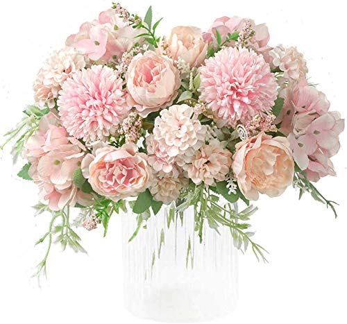 Kokmn 2 Stück künstliche Blumen, gefälschte Pfingstrose Seide Hortensie Blumenstrauß Dekor Kunststoff Nelken Realistische Blumenarrangements Hochzeitsfeier Gartendekoration