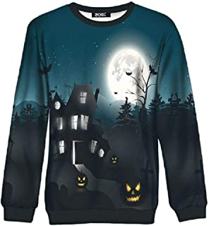 Women's Halloween Hoodie Pumpkin Long Sleeve Pullover Tops Hooded Sweatshirt