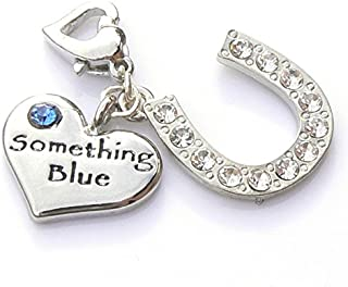 Occasions Emporium Something Blue Heart and Horseshoe Garter Charm - Gift Packaged