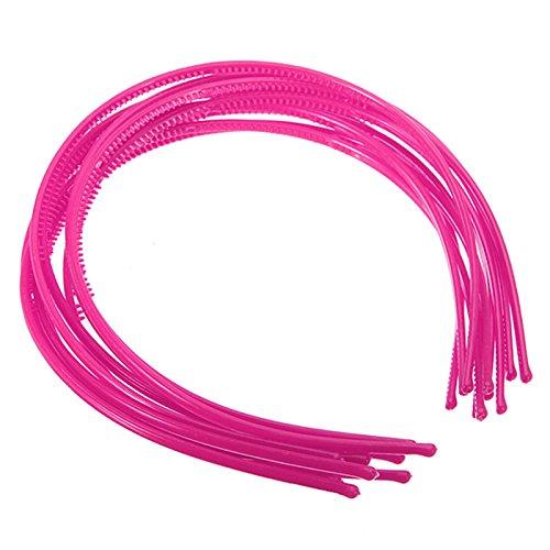 dents a large bande bandeau - TOOGOO(R)10 PCS Serre-tete bandeau cheveux accessoire fille femme plastique headband 4mm Rose Rouge