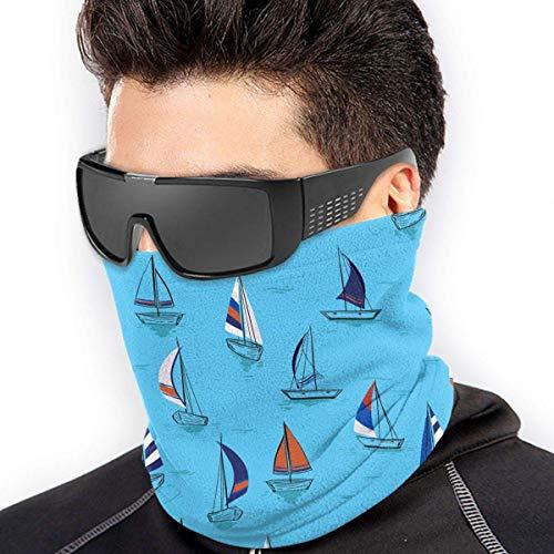 Trista Bauer Segelschiffe auf Ozeanblau Muster Männer Frauen Gesichtsmasken Kopfbedeckung Halswärmer Wiederverwendbare Maske