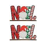 FOMIYES 2 Piezas de Decoración de Mesa de Madera de Navidad Noel Signo de Palabras de Madera Centro de Mesa Placa de Madera Repisa de Pie Signo de Madera DIY Decoración de Navidad