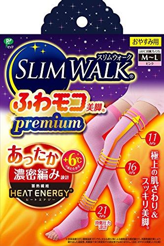 スリムウォーク (SLIM WALK) ふわモコ美脚プレミアム M~Lサイズ ピンク 着圧 ソックス