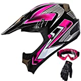 Women's Motocross ATV Helmet Dirt Bike OffRoad Mountain Bike Helmet Goggles Gloves Combo Pink 189 (M)