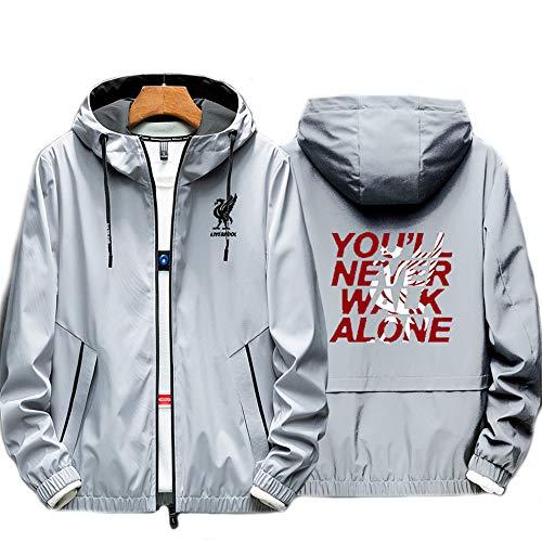CHUDAN Männer Zip Hoodie Mit Liverpool - You'll Never Walk Alone Logo Fußball Club Freizeitkleidung Sweatjacke Fans Sports Langarm Hoodie Unisex,Grau,L