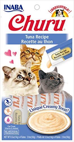 INABA Churu Lickable Purée Natural Cat Treats (Tuna Recipe, 4 Tubes)