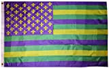 American Wholesale Superstore 3x5 USA Mardi Gras Green Gold Purple Fleur De Lis 3'x5' Premium Quality Heavy Duty Polyester Indoor Outdoor Flag