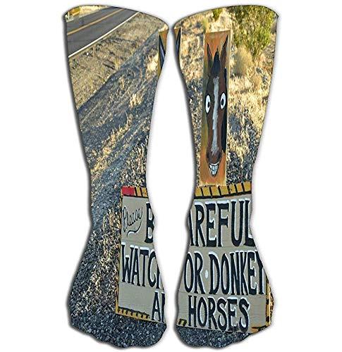 NGMADOIAN Frauen 'Männer Männer' Cool Colourful Casual Socks 50 cm (19,7 ') Casual Cotton Crew Socken Geschenk Vorsicht Wild Esel Pferde Verkehrsschild