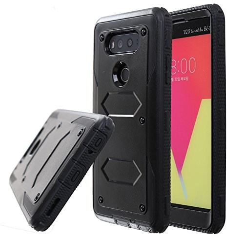 Guardful Rugged Tough [Dual Layer] Armor Overlay Case [Shockproof] Protective Hybrid Case for LG V20 (Bumper Black)