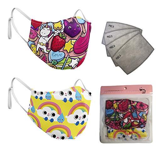ARF Pack de 2 Mascarillas higienica Reutilizable para niños de 5 a 10 años con 4 filtros Desechables PM2.5 (Niña)