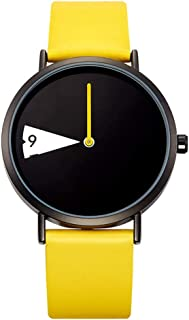 Wangyr Black Yellow Women's Girl Lady Creative Dial Rotating A Pointer Ultra-thin 8.5mm Quartz Watch 40mm Imitation Leather Strap Fashion Waterproof Holiday Gift 3ATM Unique Fashion Classic Casual Lux