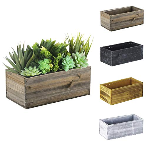 """CYS EXCEL Natural Brown Wood Rectangle Planter Box with Leak-Proof Plastic Liner (H:4"""" Open:10""""x5"""") 