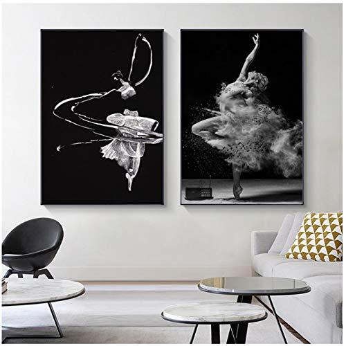 Imágenes de bailarina de ballet carteles e impresiones blanco y negro niña mujer lienzo pintura arte de la pared para la decoración de la sala de estar -50x70cmx2 sin marco