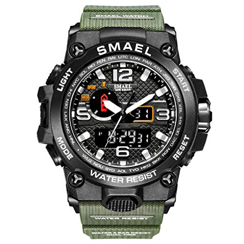 eYotto Waterproof Sports Watches for Men, Anolog Digital Watches Dual-Display Wrist Watch with Luminous Stopwatch Week 12/24H Time Alarm Clock (Army Green)