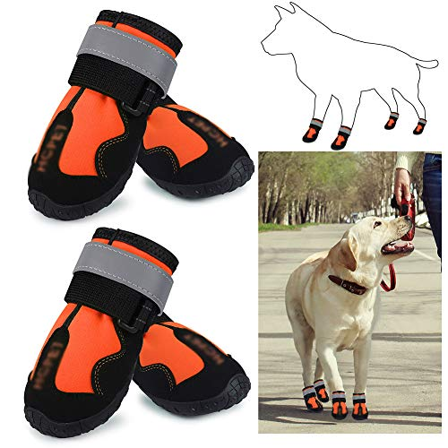 NXX Pet Dog Rain Boots Non-Slip Rubber Waterproof Shoes with Best Reflective Straps with Wear-Resistant and Rugged Anti-Slip Sole Suitable for Small Medium Large Dog Outdoor,Orange,6#