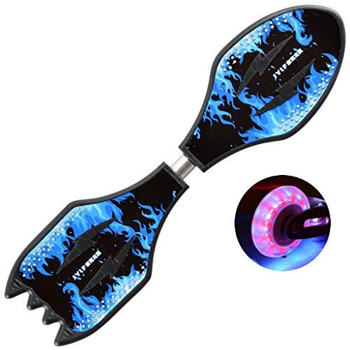 Mingfa Rutschfestes Waveboard mit zwei beleuchteten Rädern für Kinder, Teenager, Erwachsene, Rocket Board, Kinder, blau, 82x22x9