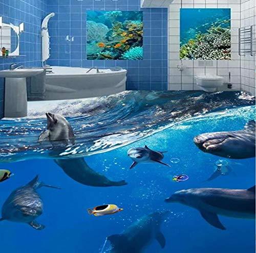 World Dolphins 3D Boden Malerei Wandbild Tapete Badezimmer Kinder Schlafzimmer PVC Selbstklebende Wasserdichte Boden Tapete 3 D-150 * 105 cm