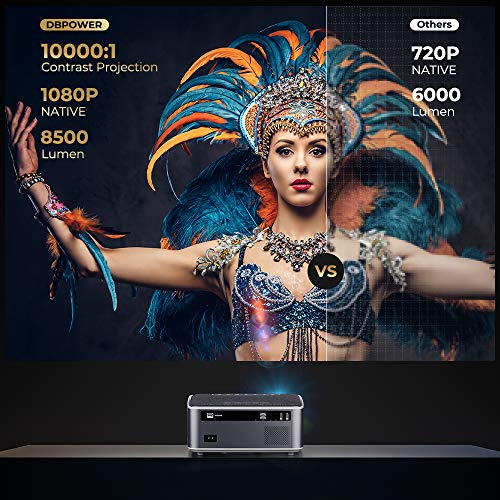 """DBPOWER Native 1080P WiFi Projector, 8500L Full HD Outdoor Movie Projector, Support 4D Keystone Correction, Zoom, PPT, 300"""" Portable Mini Video Projector Compatible w/Smart Phone/Laptop/PC/DVD/TV/PS4"""