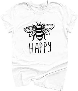 SADUORHAPPY Women T-Shirt Girls Cotton Tee Short Sleeve Casual Tops Bee Animal Pattern Print Plus Size Summer Blouse Round Neck Tunic